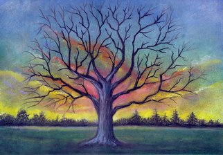 Darrell Ross; Large Tree, 2018, Original Pastel, 12 x 8 inches. Artwork description: 241 A large tree in a field. ...