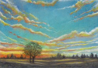 Darrell Ross; Sunset 1, 2018, Original Drawing Pastel, 12 x 8 inches. Artwork description: 241 A small sunset landscape. ...
