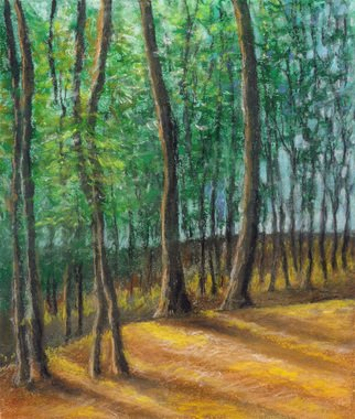 Darrell Ross; Trees In A Forest, 2018, Original Drawing Pastel, 8 x 10 inches. Artwork description: 241 A small pastel drawing of some trees in a forest. ...