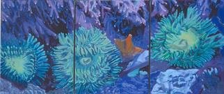 Donna Schaffer; Green Anemones, 2001, Original Painting Oil, 49 x 21 inches. Artwork description: 241 This triptych features green anemones in the rocks of Monterey Bay. The paintings are based on the artist' s original underwater photography. ...