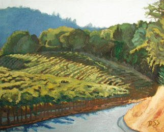 Donna Schaffer; Last Hint Of Sun On Vineyard, 2001, Original Painting Oil, 20 x 16 inches. Artwork description: 241 The golden grass on the right corner is our property. We don' t grow grapes. But this shows you the inspiration I' m surrounded with.  ...