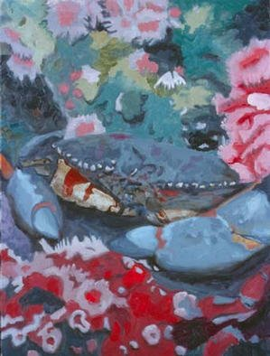 Donna Schaffer; Rock Crab And Strawberry ..., 2002, Original Painting Oil, 18 x 24 inches. Artwork description: 241 Rock Crab and Strawberry Anemones in Monterey Bay ...