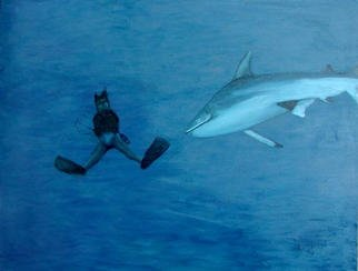 Donna Schaffer; Sharks Dinner, 2002, Original Painting Oil, 40 x 30 inches. Artwork description: 241 Shark' s Dinner? is based on a 2001 photo I took off New Britain Island in Papua New Guinea. The sharks had just been generously chummed. We were on the Peter Hughes liveaboard diveboat Star Dancer. ...