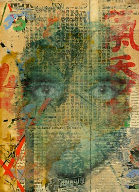 Billy Bob Warren; Self Portrait Number 5, 2002, Original Collage, 9 x 12 inches. Artwork description: 241  Digital Media, Acrylic Paint, Chinese Paper, on Masonite with Wood Box Frame   ...
