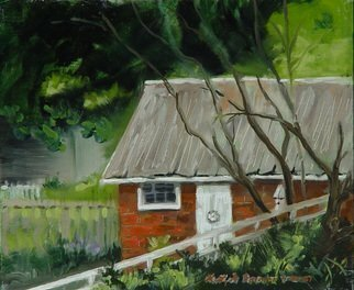 Lou Posner; In the Alley, 2001, Original Painting Oil, 12 x 10 inches. Artwork description: 241 From the gazebo in New Harmony, IN, part of IPAPA paint- out...