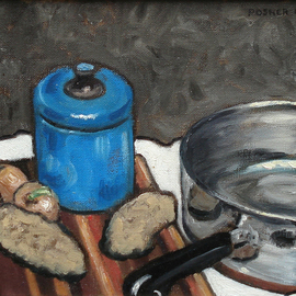 Lou Posner, , , Original Painting Oil, size_width{Onions_and_Potatoes_I-1238343792.jpg} X 8 inches