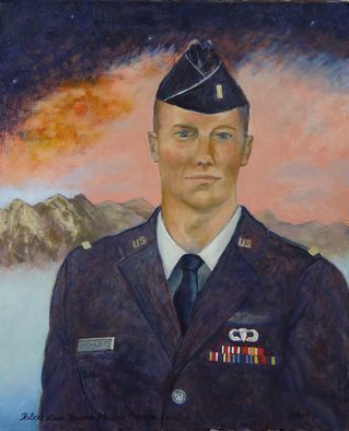 Lou Posner; Portrait Of 2d Lt J Levi ..., 2017, Original Painting Oil, 18 x 22 inches. Artwork description: 241 What can I sayLevi has been a helper of mine since age 13 and has become a close friend.  He graduated from the Air Force Academy this past spring.  The portrait, from life, was a joy to do.  Yes, that is the planet Mars rising. ...