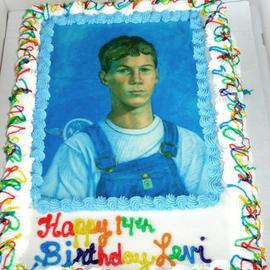 Lou Posner, , , Original Other, size_width{Portrait_of_Levi_Hilgenhold_in_Bib_Overalls_done_as_birthday_cake-1368294686.jpg} X 18 inches