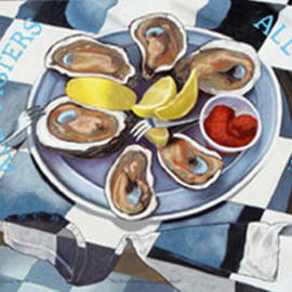 Lou Posner, , , Original Painting Oil, size_width{Rob__Havent__You_Had_ENOUGH_Oysters-1063762907.jpg} X 30 inches
