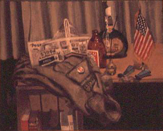 Lou Posner, Still Life with Field Jacket, 1972, Original Painting Oil,    inches