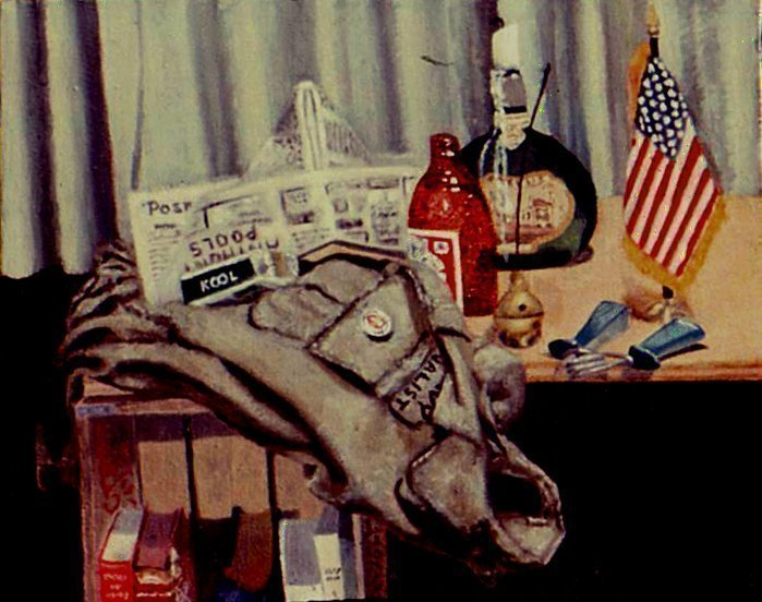 Lou Posner; Still Life with Field Jacket, 1972, Original Painting Oil, 12 x 8 inches. Artwork description: 241 Elements of my life about two years after returning from Vietnam. Collection of Michael Yomtov. ...