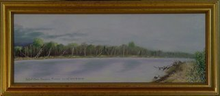 Lou Posner; The Wabash River Storm Co..., 2000, Original Painting Oil, 28 x 10 inches. Artwork description: 241  The Wabash River at New Harmony, Indiana. Referred to in tune titled,
