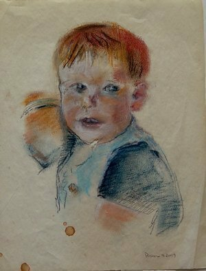Lou Posner; August Kieper, 2019, Original Pastel, 8.5 x 11 inches. Artwork description: 241 August Kieper, grandson of dear friends, David and Christine Robinson, Madison, WI, on creased, torn, faded watermarked MILLERS FALLS ONION SKIN COTTON CONTENT paper, 4H and 4B graphite pencils and pastel chalk.  SOLD. ...