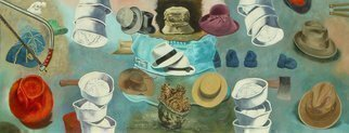 Lou Posner; Hats, 1984, Original Painting Oil, 70.9 x 27 inches. Artwork description: 241 Stories of my life told with hats. ...