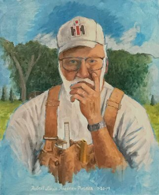 Lou Posner; Portr Of Bob Brown In Bibs, 2019, Original Painting Oil, 18 x 22 inches. Artwork description: 241  18 in the Bib Overalls series.  Bob is a good friend and neighbor of mine out here in rural Perry County, Indiana.  He has done more for me than I have done for him.  He is a special guy. ...
