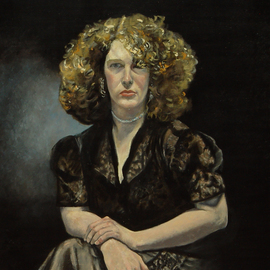 Lou Posner, , , Original Painting Oil, size_width{portrait_of_liz_in_black_dress-1505429655.jpg} X 28 inches