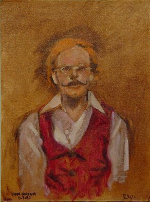 Lou Posner; portrait of tom horton, 1983, Original Painting Oil, 12 x 16 inches. Artwork description: 241 Oil on canvas board. Took 15 min. to paint. An oil sketch. Signed Rlp.  Modeled for multiple paintings. Multitalented artist, artisan, crafstman, builder, quiltmaker, antiques dealer, etched glass artist sandblasting .  Connecticut. ...