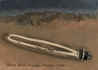 Lou Posner; Surreal Eclipse, 2020, Original Painting Oil, 12 x 9 inches. Artwork description: 241 The lower, burned up heating element of a hot water heater, seen during an eclipse of the sun. ...
