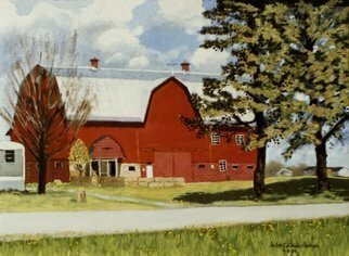 Lou Posner; the big red barn, 1995, Original Painting Oil, 24 x 18 inches. Artwork description: 241 This 122- year- old building, a county landmark, has been  prepurposed  into an emporium for crafts, antiques, house- made desserts, etc. , grand opening on Oct. 21, 2017. The resotration and repurposing has been done by Dawn and Shelby Brown as  Brown s Bittersweet Farms.   The painting shown ...