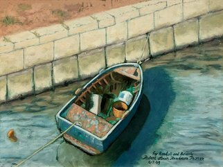 Lou Posner; The Blue Boat, 2009, Original Painting Oil, 16 x 12 inches. Artwork description: 241 A busted up, broken down fishing boat in Croatia, where Randall Kleeman was visiting.  Randall loves rescuing distressed boats and is a master carpenter, owner and operator of Tell City Wood Boat, in Tell City, Indiana.  Collection of Randall Kleeman. ...