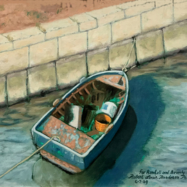 Lou Posner, , , Original Painting Oil, size_width{the_blue_boat-1557002393.jpg} X 12 inches