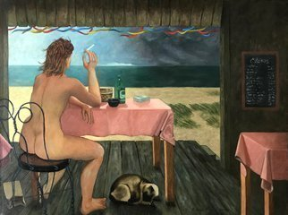 Lou Posner; The Clam Shack, 1984, Original Painting Oil, 38 x 28 inches. Artwork description: 241 My all- time favorite model, Katherine Webster.  The increasing wind of the incoming storm is suggested by the flapping of the colored streamers and the pink tablecloths, the blown- around paper bag on the floor, the bent dune grass, and the modelaEURtms wind- whipped hair.  The ...