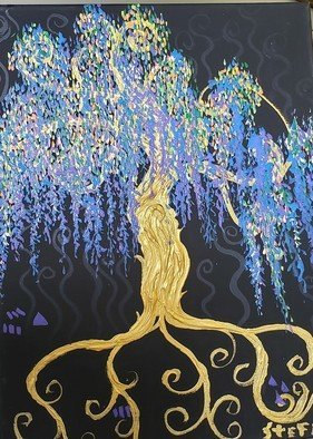 Stefan Duncan; Willow, 2019, Original Painting Acrylic, 12 x 16 inches. Artwork description: 241 Squiggleism style.  Black, gold, purple, blue colors.  Trees are like people with our feet as roots and arms as branches ever reaching for the Light. ...