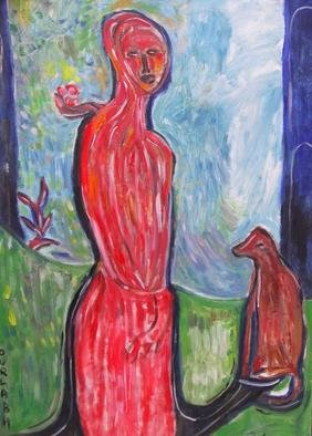 Durlabh Singh; Lady With Dog, 2013, Original Painting Oil, 24 x 36 inches. Artwork description: 241  Lady with a dog in vivid colours. Contemporary painting, innovative, figurative, expressive, landscape, animals, mustic.  ...
