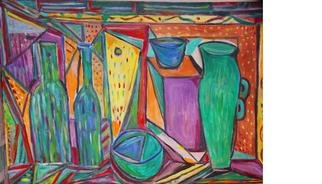 Durlabh Singh; Still Life With Jug, 2013, Original Painting Oil, 36 x 24 inches. Artwork description: 241           Contemporary style, vivid colours, expressive , innovative, still life.             ...