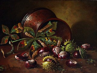 Dusan Vukovic; Chestnuts, 2012, Original Painting Oil, 30 x 40 cm.