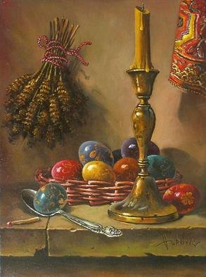 Dusan Vukovic; Decorating Easter Eggs, 2013, Original Painting Oil, 30 x 40 cm. Artwork description: 241  This is poetic realism. . .  ...