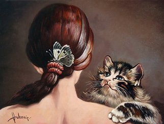 Dusan Vukovic; Last Game Of Butterflies, 2012, Original Painting Oil, 30 x 40 cm. Artwork description: 241  realism, symbolism, cat, butterfly, girl...