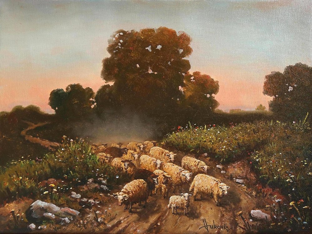 Dusan Vukovic; Return Of The Herd, 2017, Original Painting Oil, 40 x 40 cm. Artwork description: 241 the return of hes, sheep, twilight, home, realism, oil, dusanvukovic...