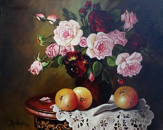 Dusan Vukovic; Roses, 2012, Original Painting Oil, 40 x 50 cm. Artwork description: 241  realism, roses, bouquet, flowers, still life...