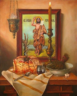 Dusan Vukovic; St John The Baptist, 2016, Original Painting Oil, 50 x 60 cm. Artwork description: 241 icon, hanging lamp, religion, still life, oil on canvas, original painting, dusanvukovic...