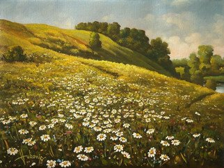 Dusan Vukovic;   Daisies, 2015, Original Painting Oil, 50 x 40 cm. Artwork description: 241 This is poetic realism. . . ...