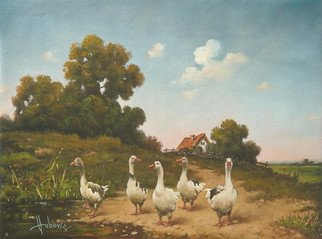 Dusan Vukovic; Geese, 2015, Original Painting Oil, 40 x 30 cm. Artwork description: 241 This is poetic realism. . .  ...