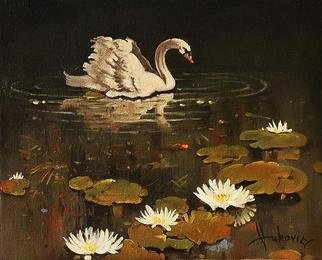 Dusan Vukovic; Lonely Swan, 2012, Original Painting Oil, 40 x 30 cm. Artwork description: 241 swan, animals, realism, oil on canvas, original painting, dusanvukovic...