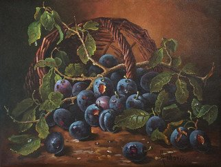 Dusan Vukovic; Plums, 2012, Original Painting Oil, 50 x 40 cm. Artwork description: 241  plums, life, still, vukovic, dusanvukovic, oil, canvas, realism...
