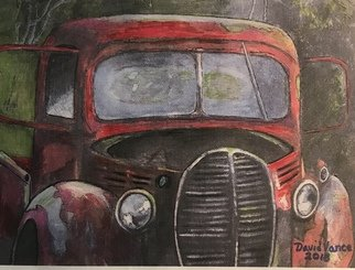 David  Vance; Old Blood And Guts, 2018, Original Painting Acrylic, 9 x 11 inches. Artwork description: 241 trucks, antique, barnyard, barn find, Chevy, Ford, Dodge, vintage, classic, Mecum, Wreck, red, pickup, roadster, hot rod, flareside...