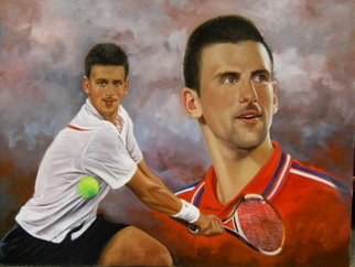 Dwayne Mitchell; Novak Djokovic, 2011, Original Painting Oil, 30 x 40 inches. Artwork description: 241  Tennis, Men, Sports, Novak, Djokovic. ...