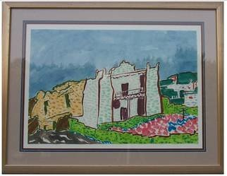 Jack Earley; Mission Church Zuni Country, 1990, Original Painting Other, 51 x 40 inches. Artwork description: 241 This mission is painted in sumi- ink on hand- made rice paper, with triple acid- free matting and a rich mahogany frame and uv conservation glass....