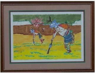 Jack Earley; Pueblo Deer Dancers, 1990, Original Painting Other, 50 x 38 inches. Artwork description: 241 Painted in sumi- e ink on hand- made rice paper, with triple acid- free matting and a lovely wood frame with uv conservation glass....