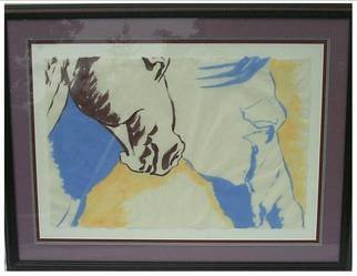 Jack Earley; Running Horses, 1990, Original Painting Other, 50 x 38 inches. Artwork description: 241 Head shot of wild horses running, painted in sumi- e ink on hand- made rice paper, triple acid- free matting, with a rich dark mahogony frame and uv conservation glass....