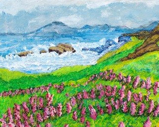 Richard Wynne; Big Sur, 2011, Original Painting Oil, 20 x 16 inches. Artwork description: 241     Oil_ sea side_ california- landscape- big sur- wiild flowers_ representational ...