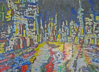 Richard Wynne; City Night, 2014, Original Painting Oil, 16 x 12 inches. Artwork description: 241  oil painting, urban, city night, night scene, townscape, night traffic, city lights, contemporary, colorful, bright, hectic, oil painting on canvas  ...