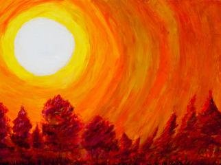 Richard Wynne; Fire On The Mountain, 2012, Original Painting Oil, 48 x 36 inches. Artwork description: 241       oil_ landscape_ fire_ forrest fire_ hot colors_ orange_ mauve_ bluegrass song_ hot sun ...