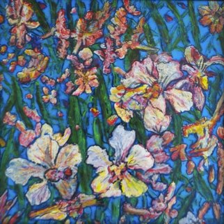 Richard Wynne; Flowers, 2014, Original Painting Other, 19 x 19 inches. Artwork description: 241   flowers/ floral/ orchids/ nature/ lacquer painting/ lacquer on a transparent backing/ colorful/ ...