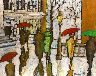 Richard Wynne; Winter Rains, 2011, Original Painting Other, 10 x 8 inches. Artwork description: 241     winter_ rains_ street scene_ town scape_ urban scene_ representational_ umbrellas_ people strolling_ walking_ lonesome_ moody       ...