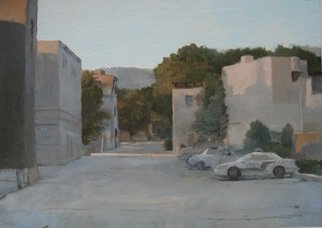 Eberhard Froehlich; Montreal Police Car, 2012, Original Painting Oil, 11.5 x 8.3 inches. Artwork description: 241   sunrise near Parc Lafontaine. Actually the parking lot is at Christophe- Colombe just